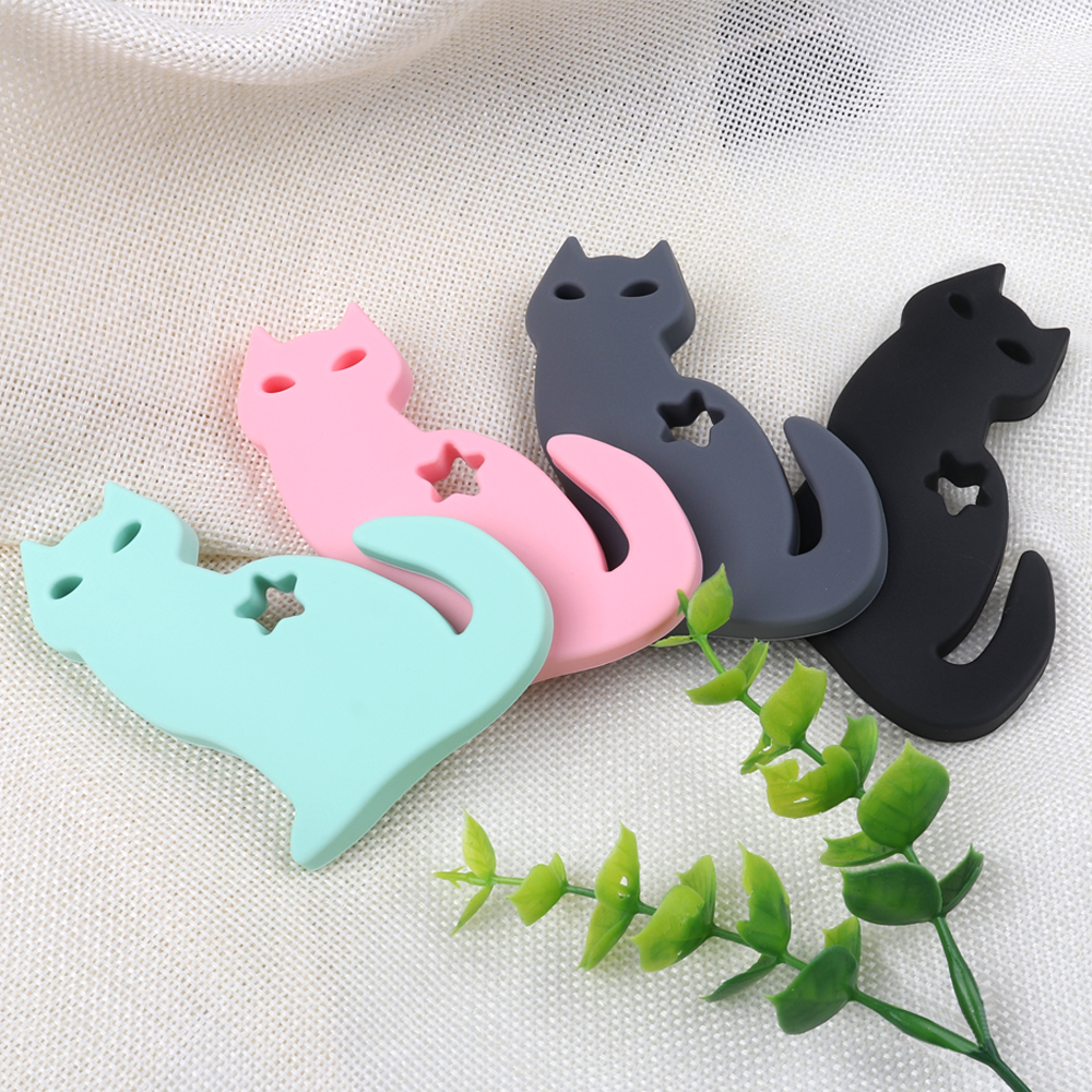 TYRY.HU 1PC Cute Cat Teether Food Grade Silicone Baby Nursing Chew Toy BPA Free Teething Necklace Pendant Gift