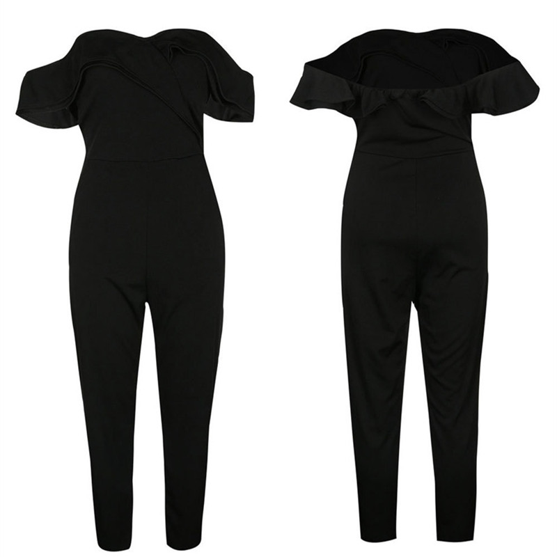 black rompers womens jumpsuit plus size sexy off shoulder overalls for women summer one piece jumpsuit casual long pants ZC2563 1