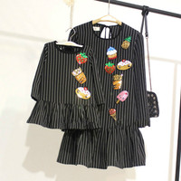 Mother Daughter Dress Stripe Fruits Printing Cartoon Cute Family Dresses Shining Black 2018 New Spring Mom Girl Matching Clothes