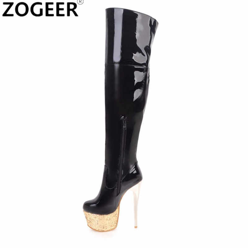 83e8ed01685 Plus size 48 Women Sexy Fetish Dance Nightclub Boots 16CM Extreme High  Heels Platform Over Knee