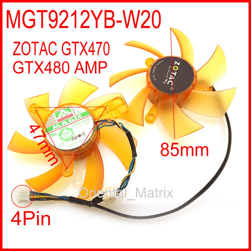 Free Shipping MAGIC MGT9212YB-W20 12V 0.48A 4Pin For ZOTAC GTX470 GTX480 AMP Graphics Card Fan computador cooling fan replacement for msi twin frozr ii r7770 hd 7770 n460 n560 gtx graphics video card fans pld08010s12hh