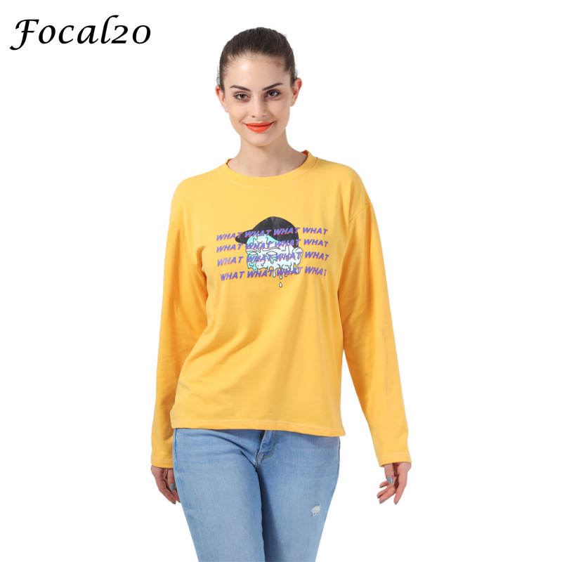 Focal20 Harajuku Letter Print Women T-shirt Long Sleeve Graffiti Portrait Face Print Graphic T Shirt Tee Top Streetwear