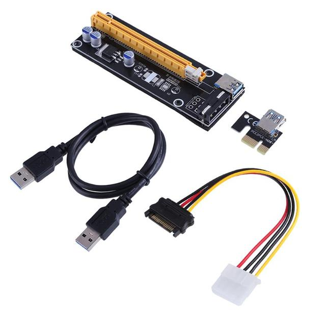 60cm PCI-E Extender PCI Express Riser Card 1x to 16x USB 3.0 SATA to 4Pin Strengthen Power Enhanced Supply Adapter for BTC Miner