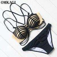 OMKAGI Brand Bikinis Set Swimsuit Swimwear Bikinis Women Push Up Solid Swim Suit Swim Wear Beachwear