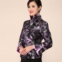 High Quality Purple Women Satin Slim V Neck Jacket Chinese Traditonal Style Coat Single Button Outwear