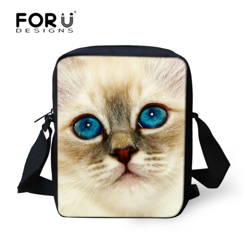 FORUDESIGNS Brand Messenger Kids Bag untuk Wanita Animal Cat Handbag Lady Girls Crossbody Bag Winter Casual Small Kids Shoulder Bag
