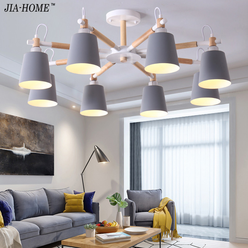 LED Chandeliers For Living Room Hanging Lights 5 color lampshade Lustres para sala de jantar Lampshade Dining Lighting Fixtures