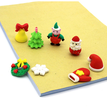1 lots rubber color modeling cute Cartoon christmas eraser suitsupplies Creative stationery Christmas gift Kawaii for children
