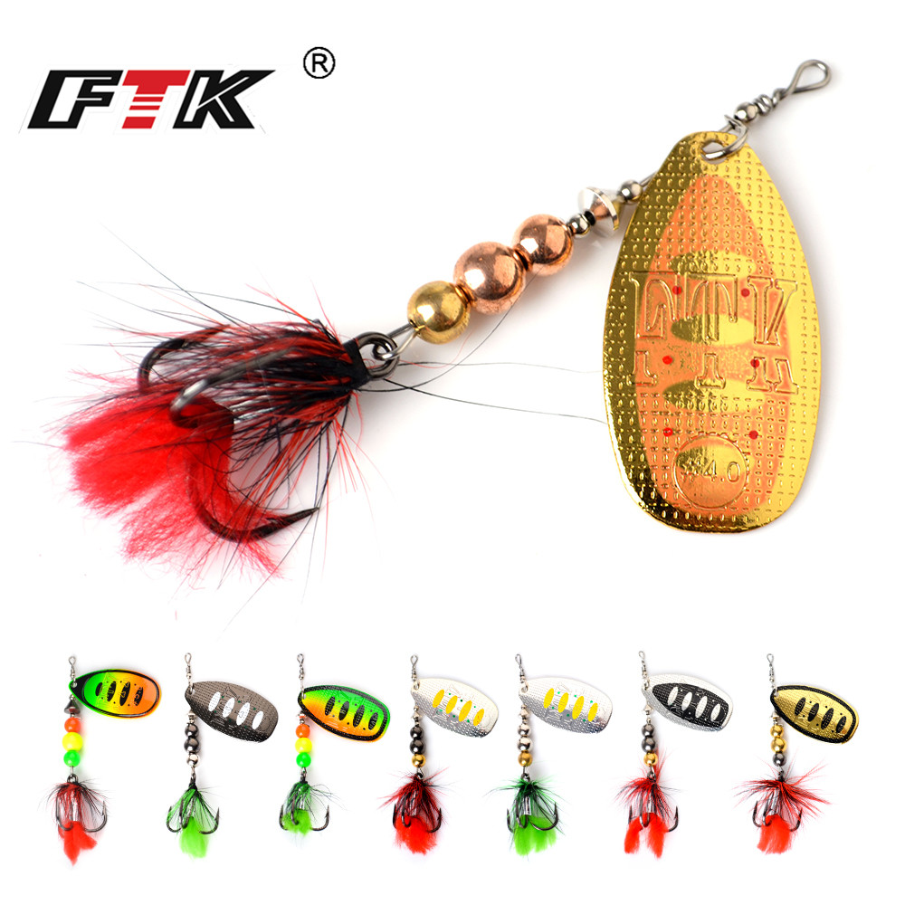 FTK Spinner Metal Fishing Bait 1pcs 3 Size 8g 13g 19g Lure Hard Bait Spoon Lures with Feather Treble Hooks Carp Fishing Tackle in Fishing Lures from Sports Entertainment