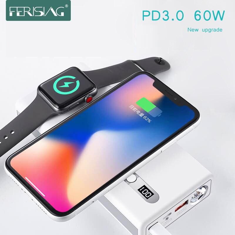 FERISING Drahtlose PD3.0 60 W Schnelle Ladegerät Power Bank 20000 mAh für Apple Uhr 4/3/2 iPhoneX externe Batterie für iWatch Macbook