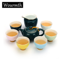 Coffee tea set includes a teapot and six cups in five bright colors creative gift of excellent quality Kung Fu tea sets a set of six