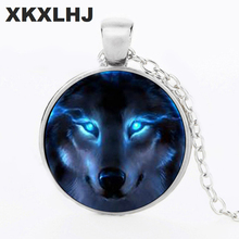 HOT! New Nordic Wiccan Wolf Necklace Pendant Jewelry Glass Photo Cabochon