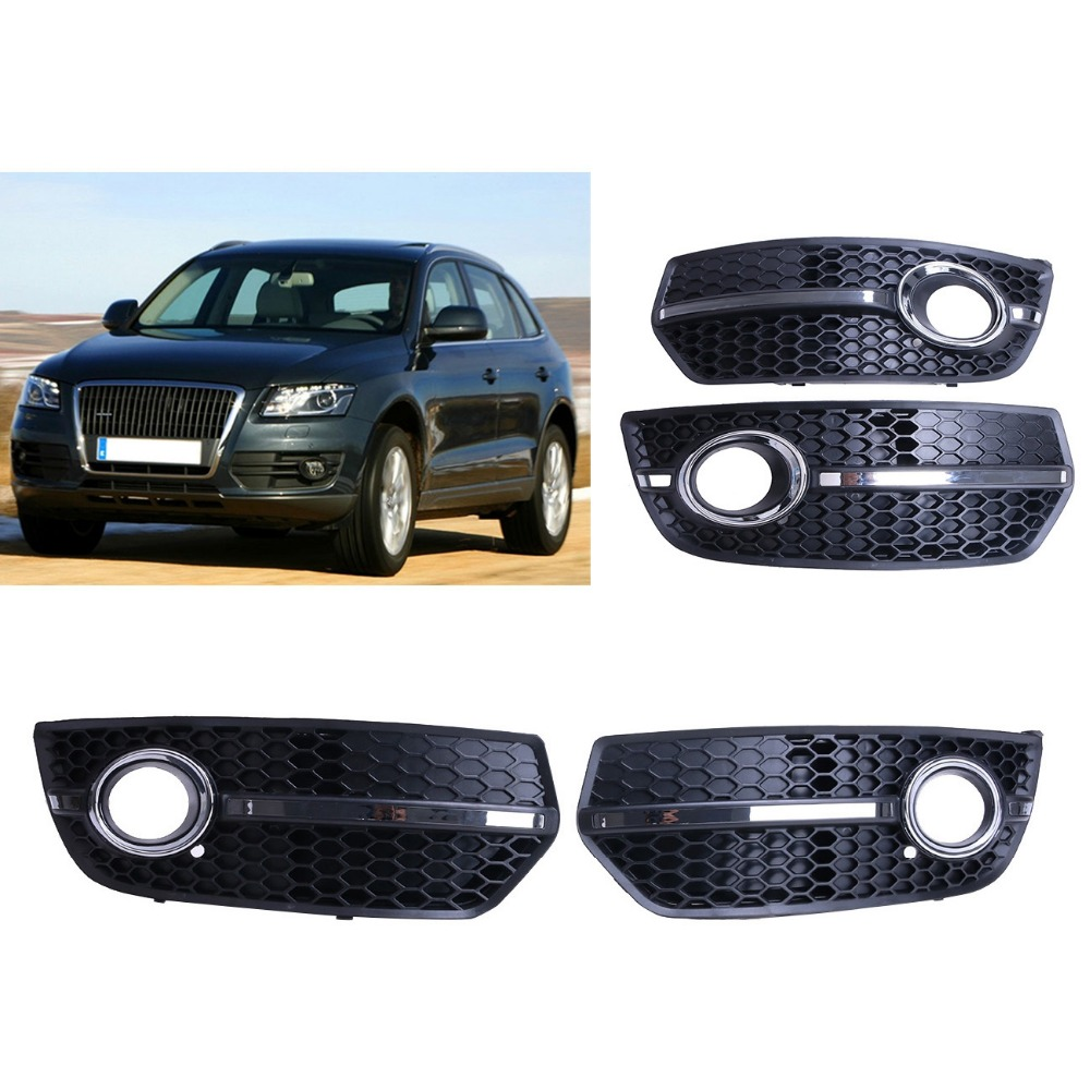 1Set Chrome & ABS Honeycomb Front Grill Fog Light Lamp Grille Cover For AUDI Q5 S-Line 2009 2010 2011 Car Styling #9297