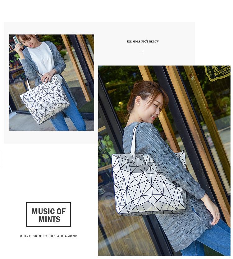 WSYUTUO Handbag Female Folded Ladies Geometric Plaid Bag Fashion Casual Tote Women Handbag Shoulder Bag 5