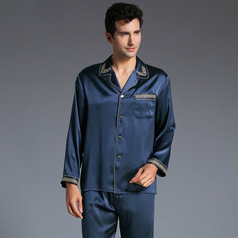 New Autumn Men s 100 Silk Sleepwear Sets Male Long Sleeve 2 Pcs Set Pajamas Embroidery