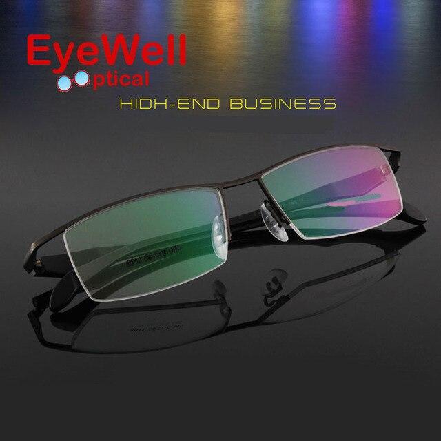 Марка titanium полукадр очки бизнес мужчины очковая оправа близорукость пресбиопии очки полуободковые очки 2017 горячая