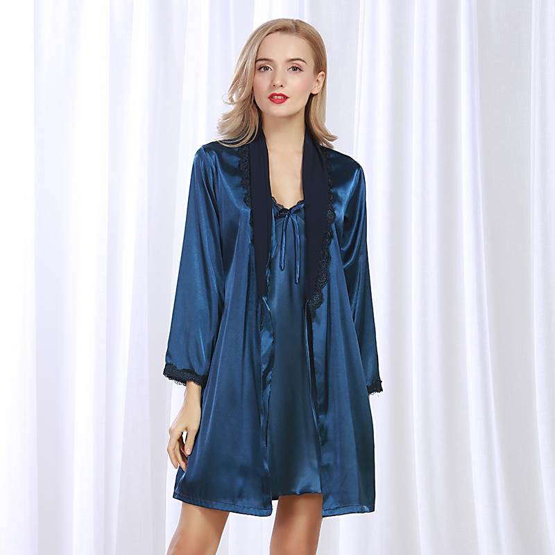 Ladies Sexy Silk Satin Robe Gown Set Lace Bathrobe+Nightdress 2 Pieces Sleepwear Set Fashion Bath Robe Set Homewear For Women