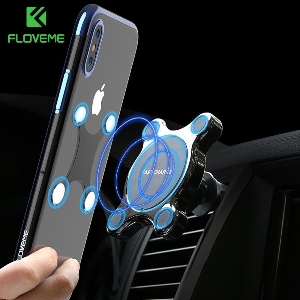 FLOVEME Car Qi cargador inalámbrico para el iPhone X 8 Plus cargador rápido magnético teléfono titular del coche para Samsung Galaxy S9 s8 más Nota 9