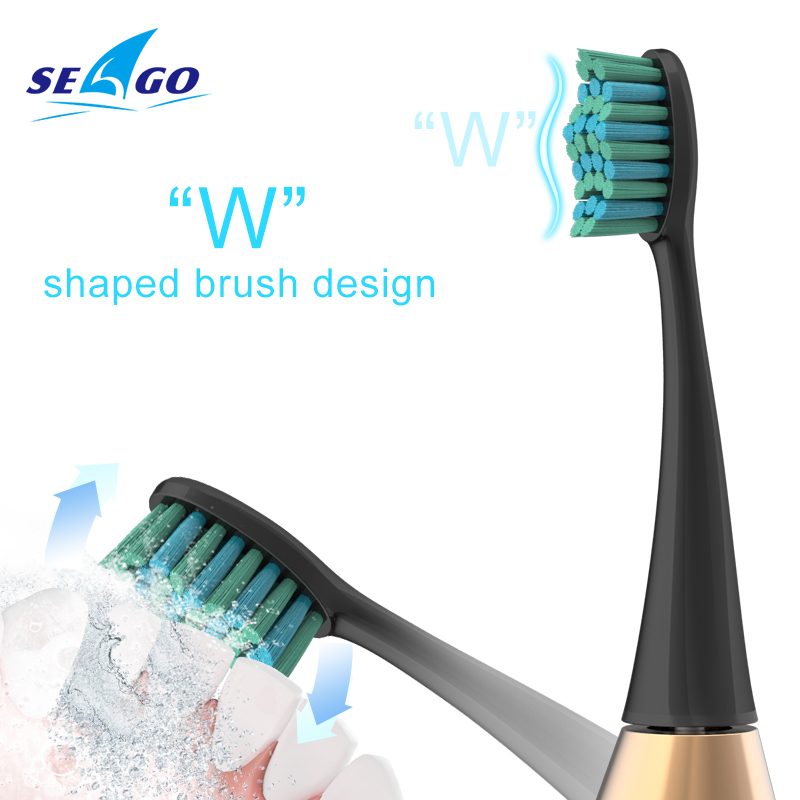 SEAGO Electric Toothbrush Rechargeable USB Sonic Tooth Brush 3 Modes Waterproof IPX 7 Clean Whiten Teeth with 3 Brush Head SG987