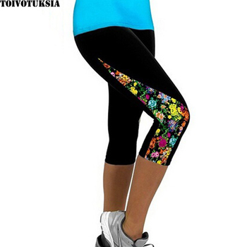 TOIVOTUKSIA Women Leggings Capris Printed Black Milk Clzas deportivas mujer Capri Summer 7 Leggins 1