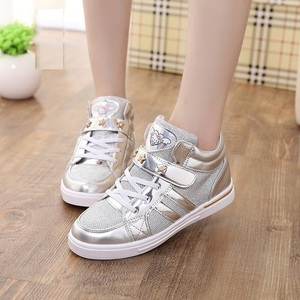 Image 5 - Chaussures en cuir Pu à paillettes pour enfants filles, chaussures montantes pour filles, mignon kitty, entraîneur à la mode, 2018