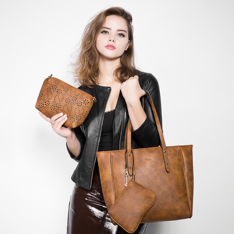 REALER bag sets women handbag casual artificial leather tote bag large shoulder bags+ladies solid handbags+small purse Lahore