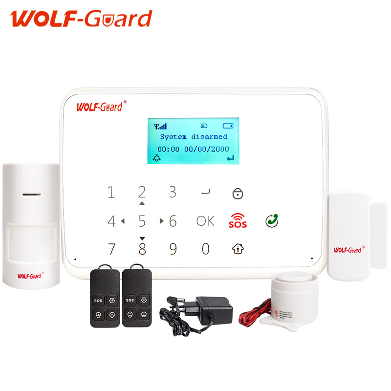 WOLF-Guard Android IOS app remote control 433mhz wireless smart burglar GSM Alarm Security System with anti-tamper function wolf guard wifi wireless 433mhz android ios app remote control rfid security wifi burglar alarm system with sos button