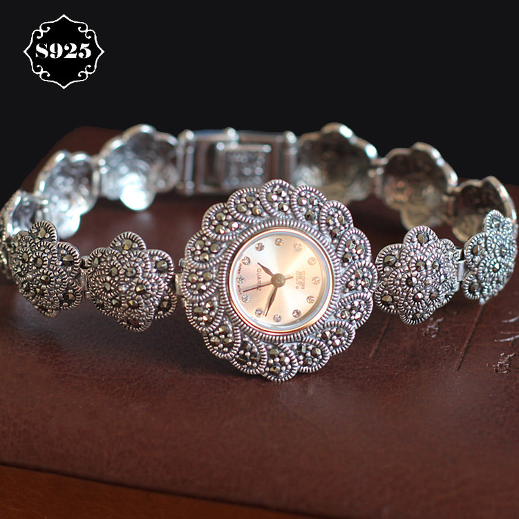Limited Edition Classic S925 Silver Pure Thai Silver Plum Flower  Bracelet Watches Thailand Process Rhinestone Bangle Dresswatch nokia 6700 classic gold edition