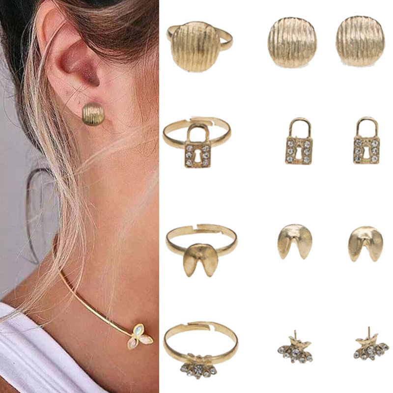 4-Rings/Sets Alloy Accessories Jewelry Gifts Rhinestone Women SKY for LE Lovely