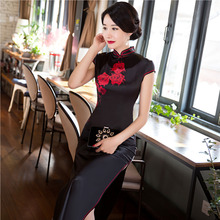 Sexy modern Women Cheongsam Cocktail black China long Dress White Evening Silk Wedding Qipao chinese traditional dress YTRJ0507