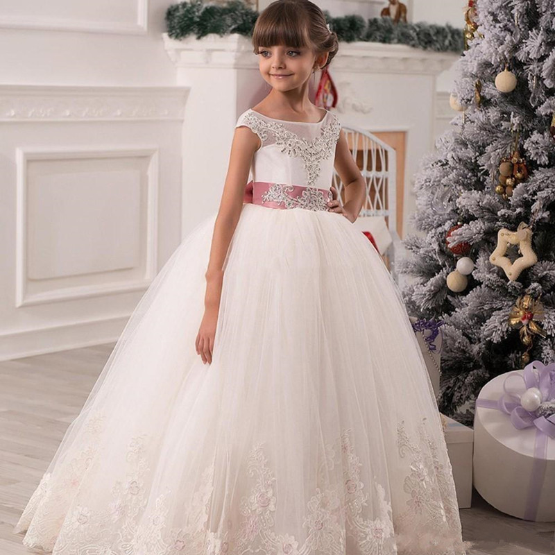 Scoop Neck Appliques Beads Lace Pageant Gowns Hollow Lace Up Back   Flower     Girls     Dresses   for Weddings