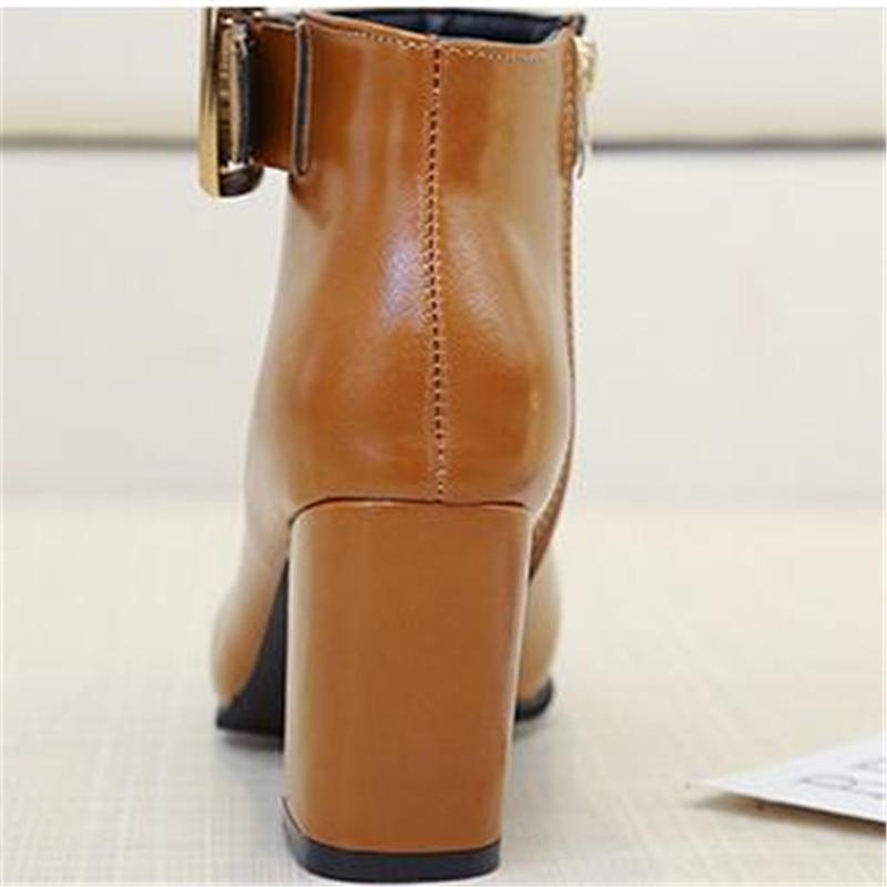 Tacones Nueva Martin Botas Tobillo Medio negro 39 Casual Señoras Las Pu Cuero Grueso Caliente marrón Mujer Moto Moda Beige De Feiyitu 35 Zapatos zqtd6d