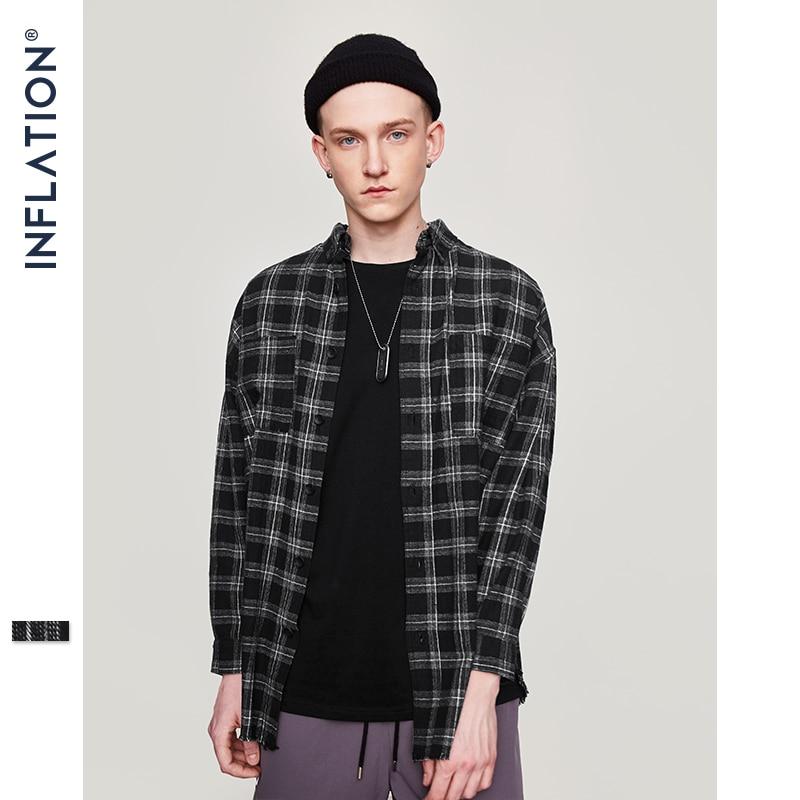 INFLATION 2020 Autumn & Winter Long Sleeve Casual Shirt Hiphop Streetwear Men's Plaid Check Flannel Shirt 004W17 long sleeve casual shirt flannel shirtcasual shirt - AliExpress