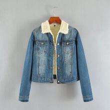 New Autumn Winter Thick Lambs Wool Denim Jacket Female Korean Slim Plus Cotton Velvet Jacket Wild