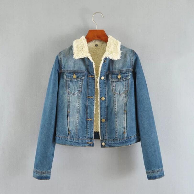 New Autumn Winter Thick Lambs Wool Denim font b Jacket b font Female Korean Slim Plus