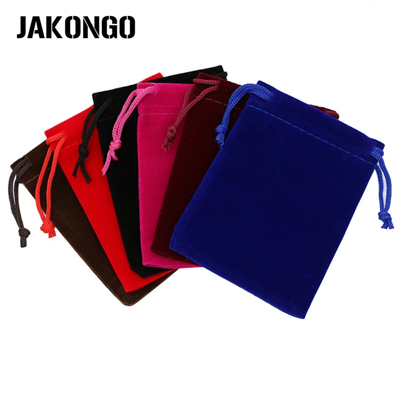 JAKONGO 10pcs/lot 7X9cm 9X12cm Velvet Jewelry Packaging Display Bags & Jewelry Pouches Drawstring Packing Gift Bags 6 Colors