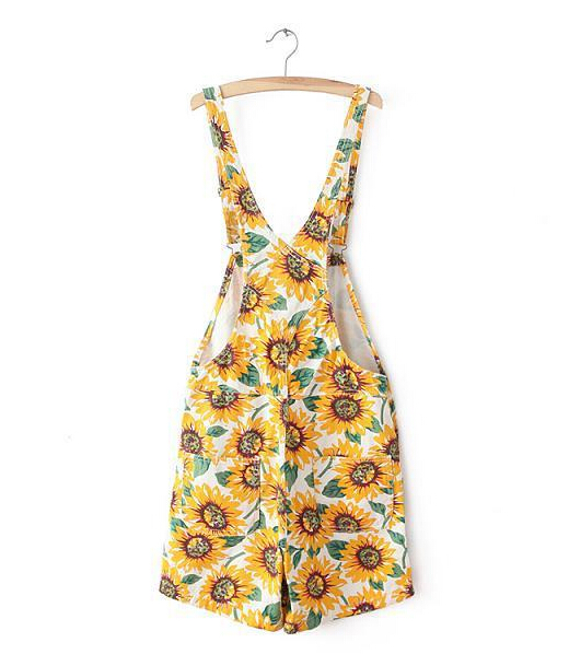 a3228b0ef5e Vintage American apparel AA Sunflower Print Rompers macacao combinaison  femme Playsuit Shorts feminino Jumpsuit Overalls-in Rompers from Women s  Clothing on ...