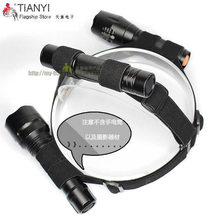 Noir tête sangle montage bandeau support sangle fixe pour 18650 batterie lampe de poche diamètre 20-25mm phare LED Camp outil