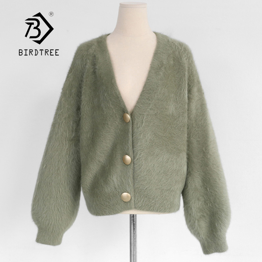 New Arrival Women Winter Mink Cashmere Cardigan Sweater Soft Knitted Oversize Lantern Sleeve Single Breasted Casual Top T97811F