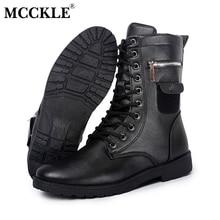 MCCKLE Combate Militar Lace up Media Pantorrilla Alta Tarjeta de Crédito cuchillo Dinero Monedero Bolsillo Botas Marca Diseño Moda Casual Hombres zapatos