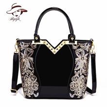 New Black Simple Luxury Women Party Evening Leather Handbag Popular High Quality Girl Messenger Bag Classic Flower Shoulder Tote