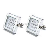Lepton Functionele Horloge Manchetknopen Voor Mannen Vierkante Echte Klok manchetknopen Met Batterij Digitale Herenhorloge Manchetknoop Relojes gemelos