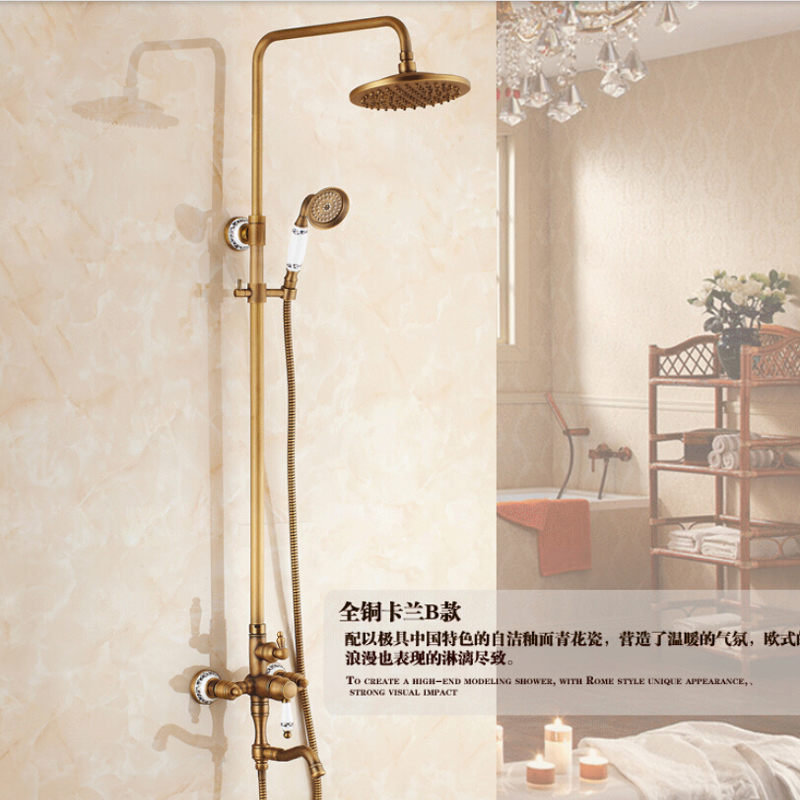 Wholesale And Retail Wall Mounted Antique Brass 8 Round Rain Shower Head Single Handle Valve Mixer Tap Tub Mixer Tap W/ Handy