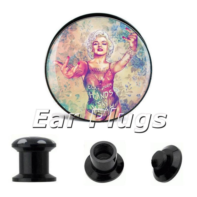 1 pair rock monroe ear plug gauges tunnel acrylic screw flesh tunnel body piercing jewelry PAP001