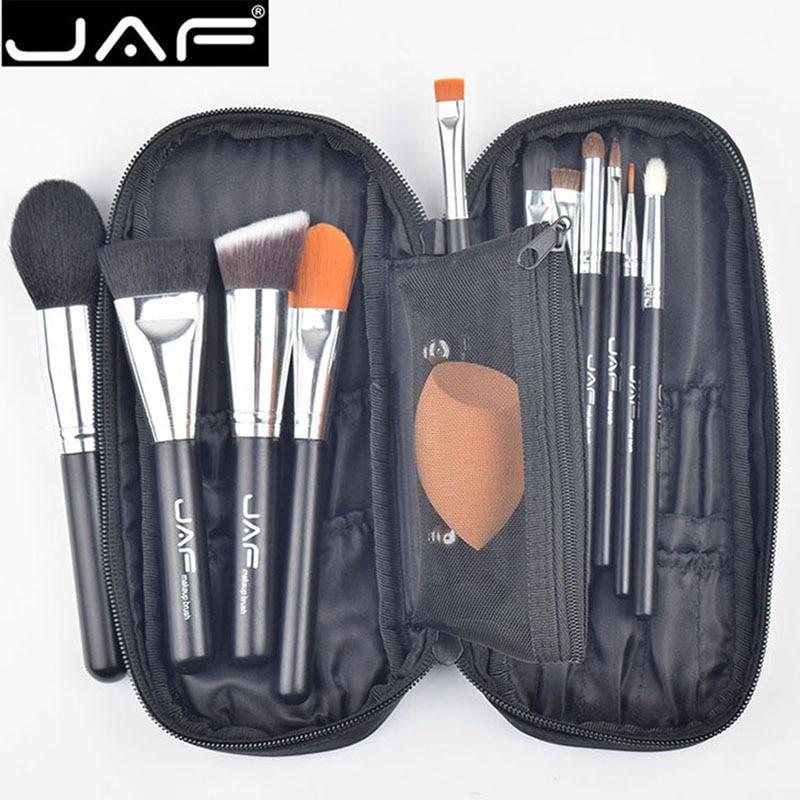 JAF Professional 12 PCS  Makeup Brushes Foundation Cream Powder Blush Brush Eye shadow Brush with Black Zipper Case Sponge puff