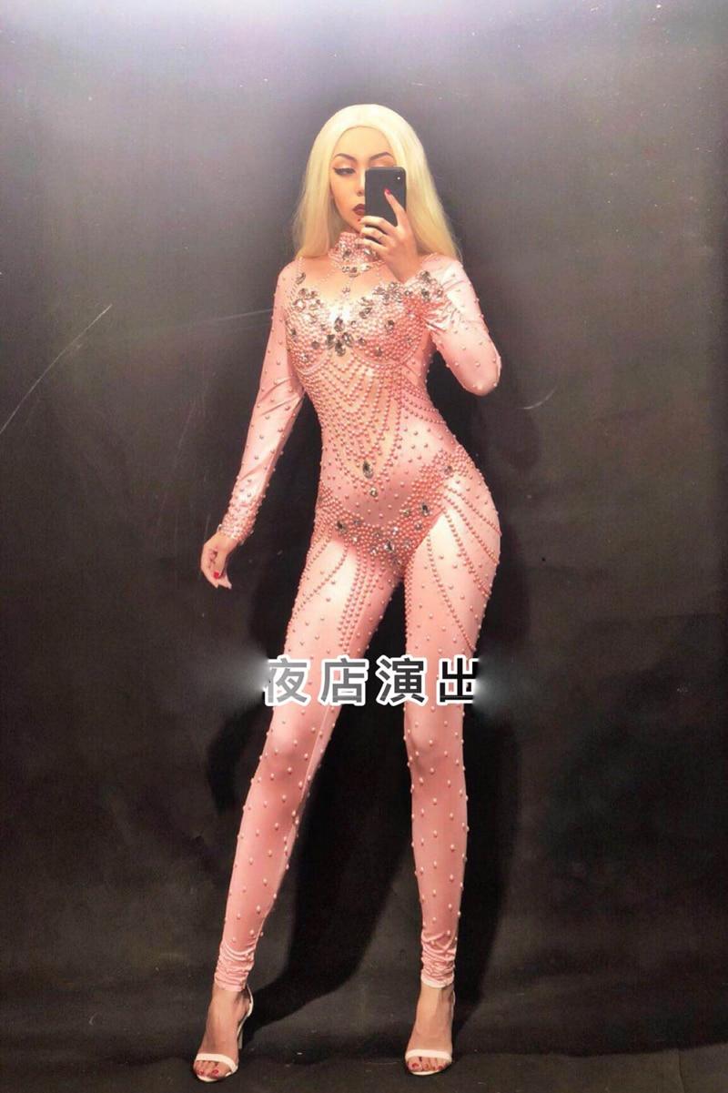 pink Jumpsuits  Crystals Pearls Jumpsuit  Bodysuit  luxurioussexy bodysuit birthday Nightclub show singer dance Costume