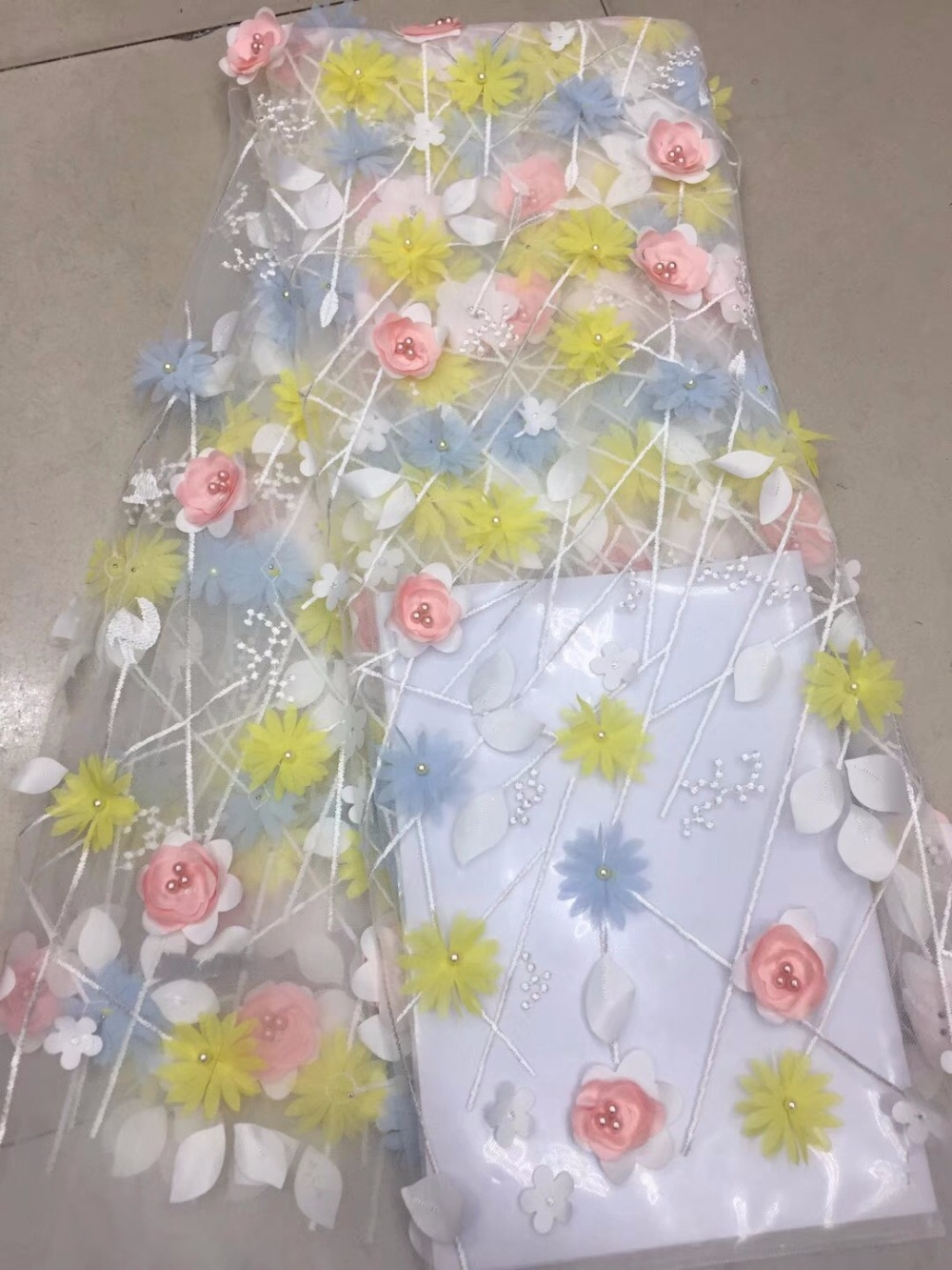 3D Lace Fabric 2018 High Quality Mesh Embroidery Applique 3D Flower Tulle Nigerian Lace Fabrics 3D Lace Fabric 2018 High Quality Mesh Embroidery Applique 3D Flower Tulle Nigerian Lace Fabrics