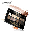 QiaoYan 2017 New Arrival High Quality Fashion Glitter Natural Shimmer Eyeshadow Eye Beauty Makeup Palette 12 Colors with Brush