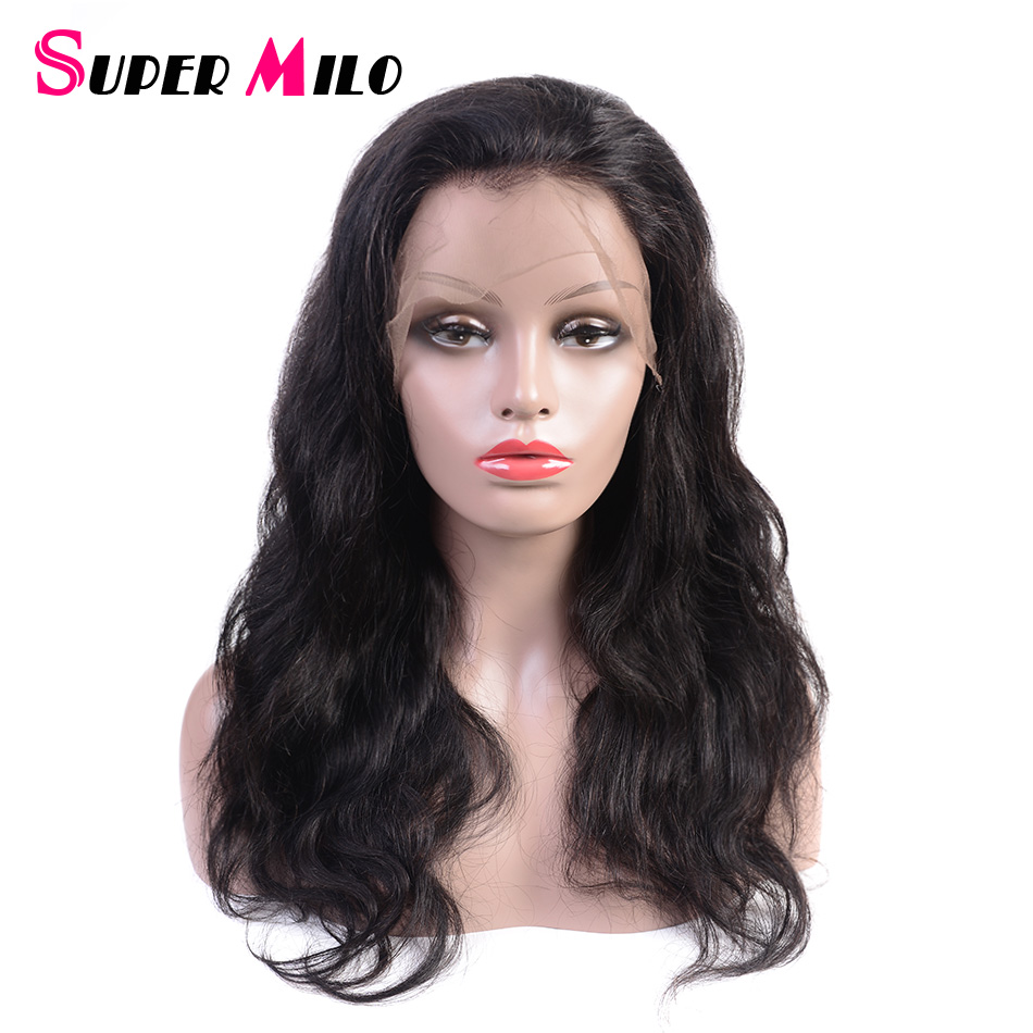 SUPER MILO Lace Front Human Hair Wigs Brazilian Hair Weave Body Wave  Natural Color Remy Hair Lace Front Wig For Black Women 87fabd181