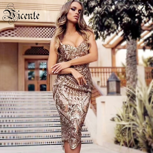 Vicente HOT Fashion Golden Sequins Midi Dress Sexy Sleeveless Backless Wholesale Celebrity Party Club Wear Slip Dress